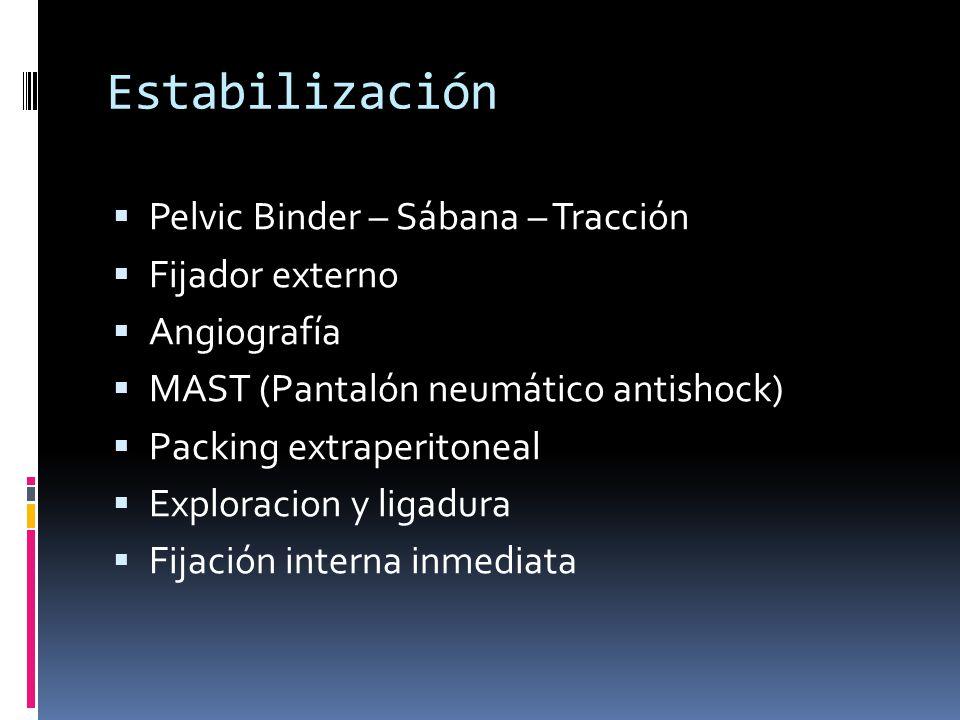 Estabilización Pelvic Binder – Sábana – Tracción Fijador externo Angiografía MAST (Pantalón neumático antishock) Packing extraperitoneal Exploracion y