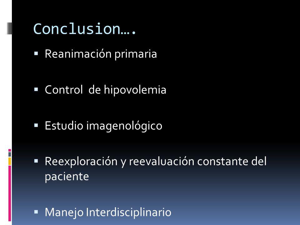 Conclusion…. Reanimación primaria Control de hipovolemia Estudio imagenológico Reexploración y reevaluación constante del paciente Manejo Interdiscipl