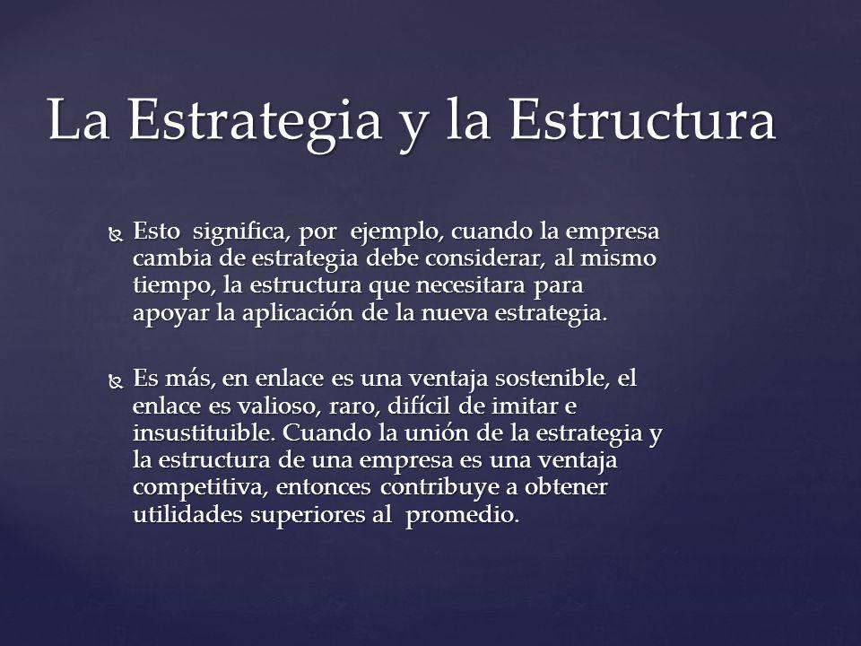 La Estrategia y la Estructura Esto significa, por ejemplo, cuando la empresa cambia de estrategia debe considerar, al mismo tiempo, la estructura que