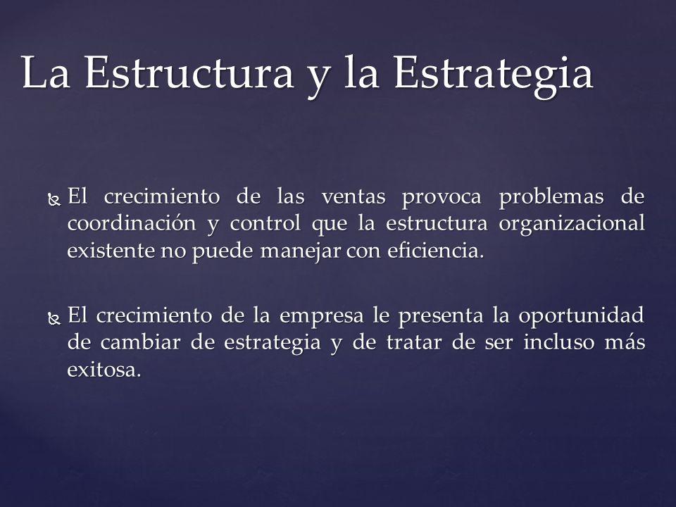 La Estructura y la Estrategia El crecimiento de las ventas provoca problemas de coordinación y control que la estructura organizacional existente no p