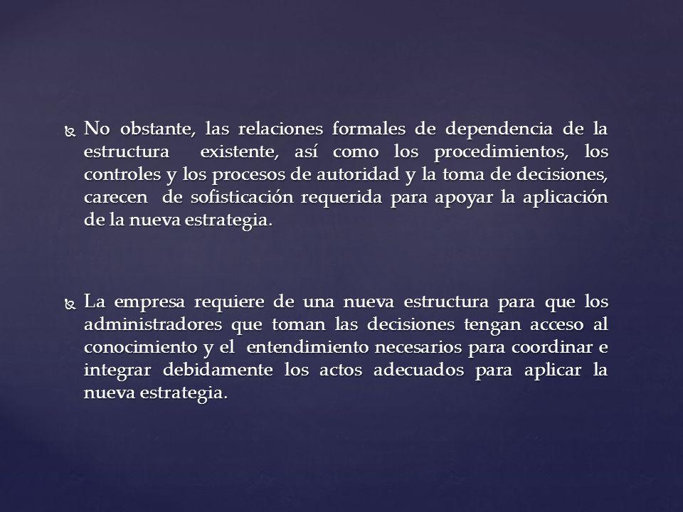 No obstante, las relaciones formales de dependencia de la estructura existente, así como los procedimientos, los controles y los procesos de autoridad