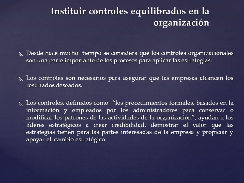 Instituir controles equilibrados en la organización Desde hace mucho tiempo se considera que los controles organizacionales son una parte importante d