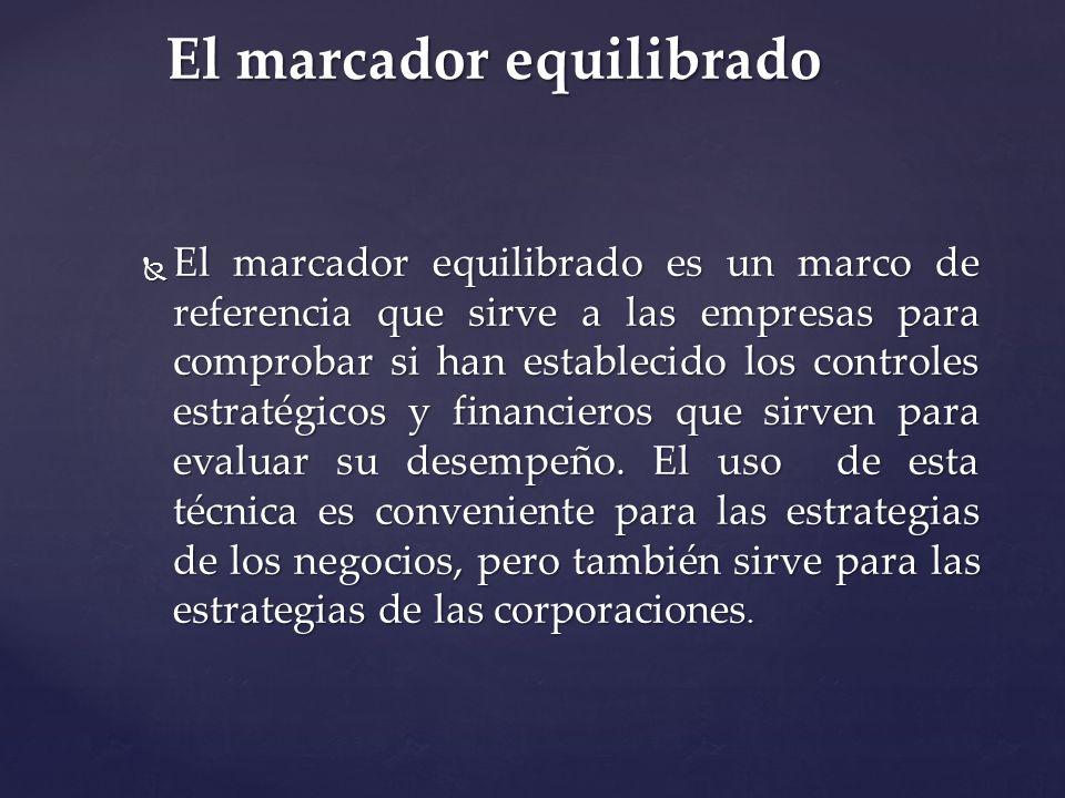 El marcador equilibrado El marcador equilibrado es un marco de referencia que sirve a las empresas para comprobar si han establecido los controles est