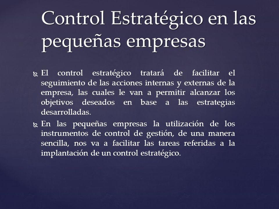 El control estratégico tratará de facilitar el seguimiento de las acciones internas y externas de la empresa, las cuales le van a permitir alcanzar lo