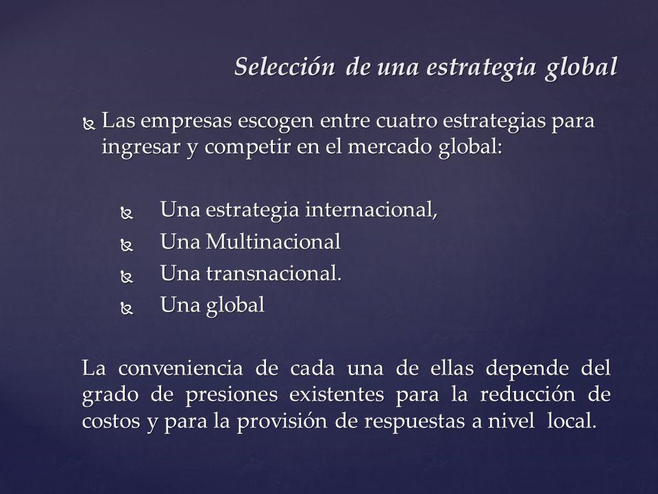 Las empresas escogen entre cuatro estrategias para ingresar y competir en el mercado global: Las empresas escogen entre cuatro estrategias para ingres
