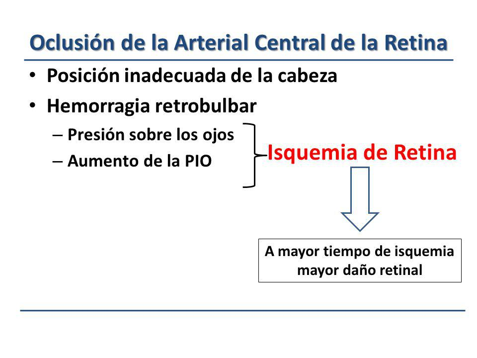 Oclusión de la Arterial Central de la Retina Posición inadecuada de la cabeza Hemorragia retrobulbar – Presión sobre los ojos – Aumento de la PIO Isqu