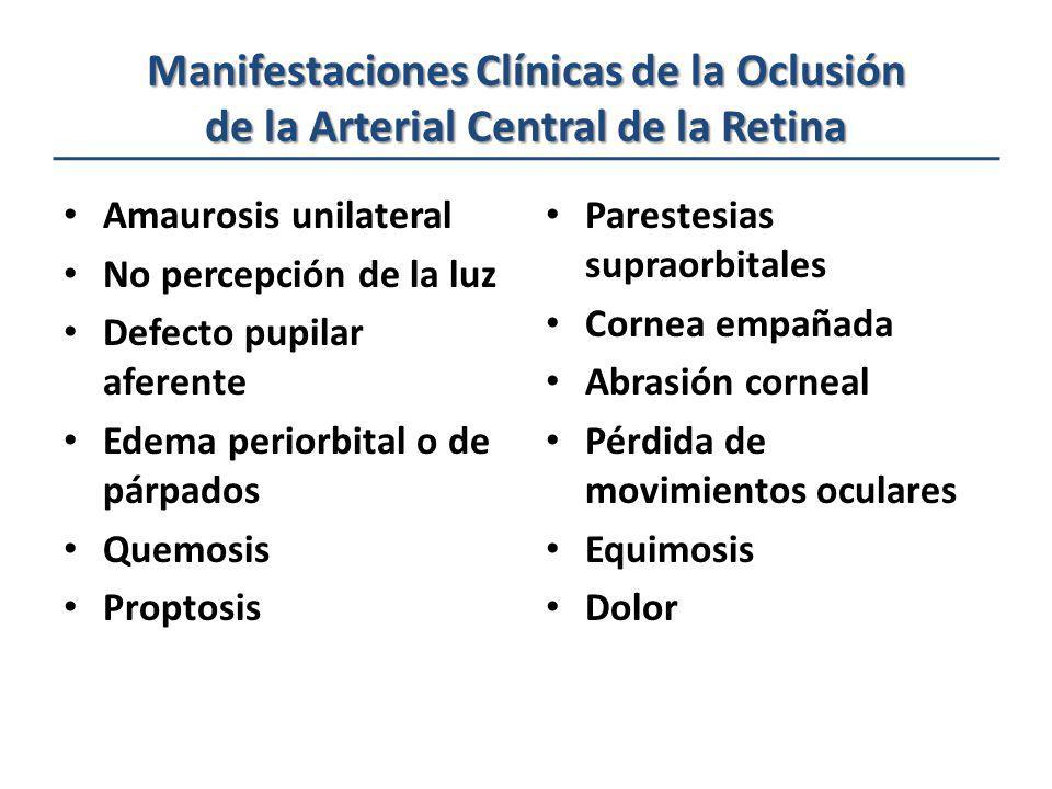 Manifestaciones Clínicas de la Oclusión de la Arterial Central de la Retina Amaurosis unilateral No percepción de la luz Defecto pupilar aferente Edem
