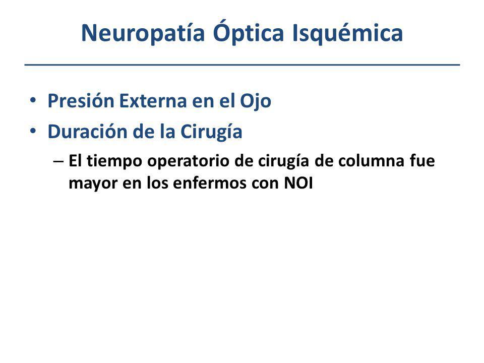 Neuropatía Óptica Isquémica Presión Externa en el Ojo Duración de la Cirugía – El tiempo operatorio de cirugía de columna fue mayor en los enfermos co
