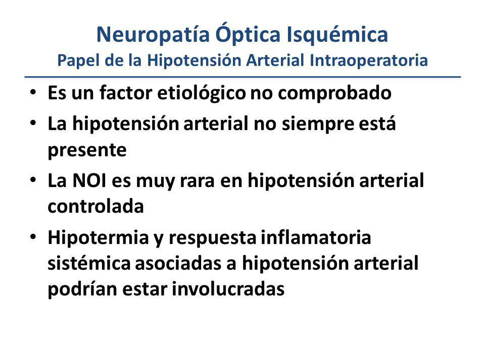 Neuropatía Óptica Isquémica Papel de la Hipotensión Arterial Intraoperatoria Es un factor etiológico no comprobado La hipotensión arterial no siempre