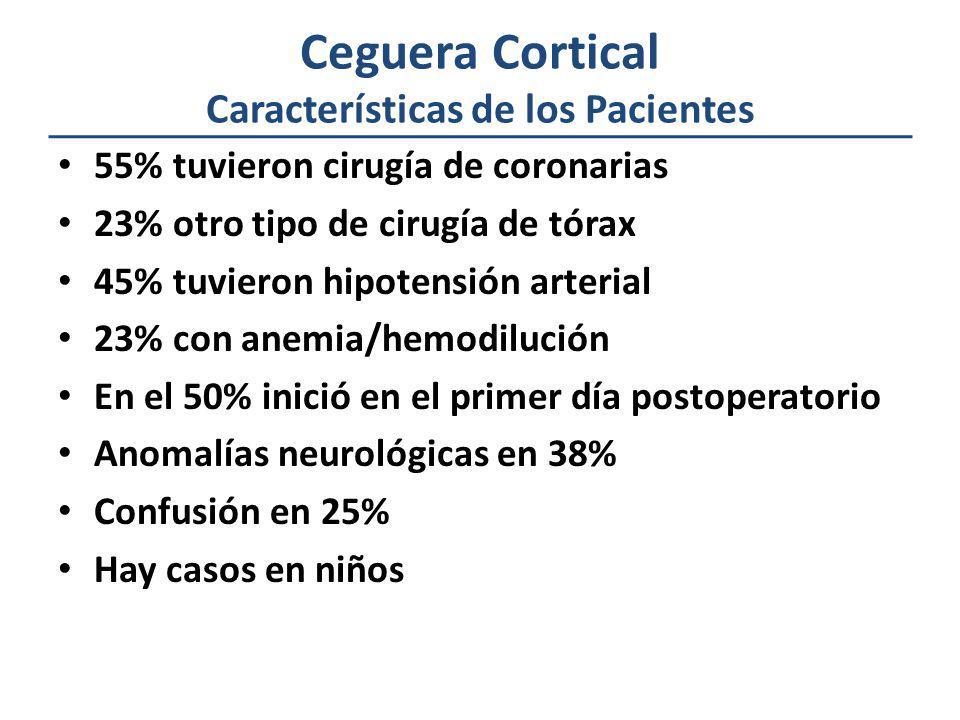 Ceguera Cortical Características de los Pacientes 55% tuvieron cirugía de coronarias 23% otro tipo de cirugía de tórax 45% tuvieron hipotensión arteri
