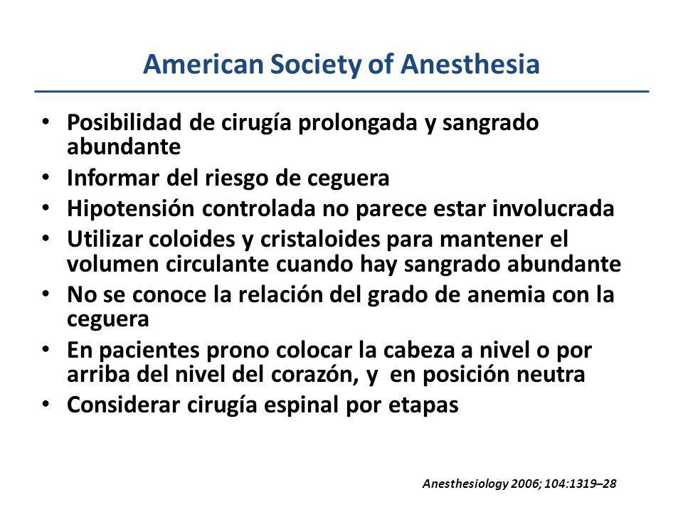 American Society of Anesthesia Posibilidad de cirugía prolongada y sangrado abundante Informar del riesgo de ceguera Hipotensión controlada no parece