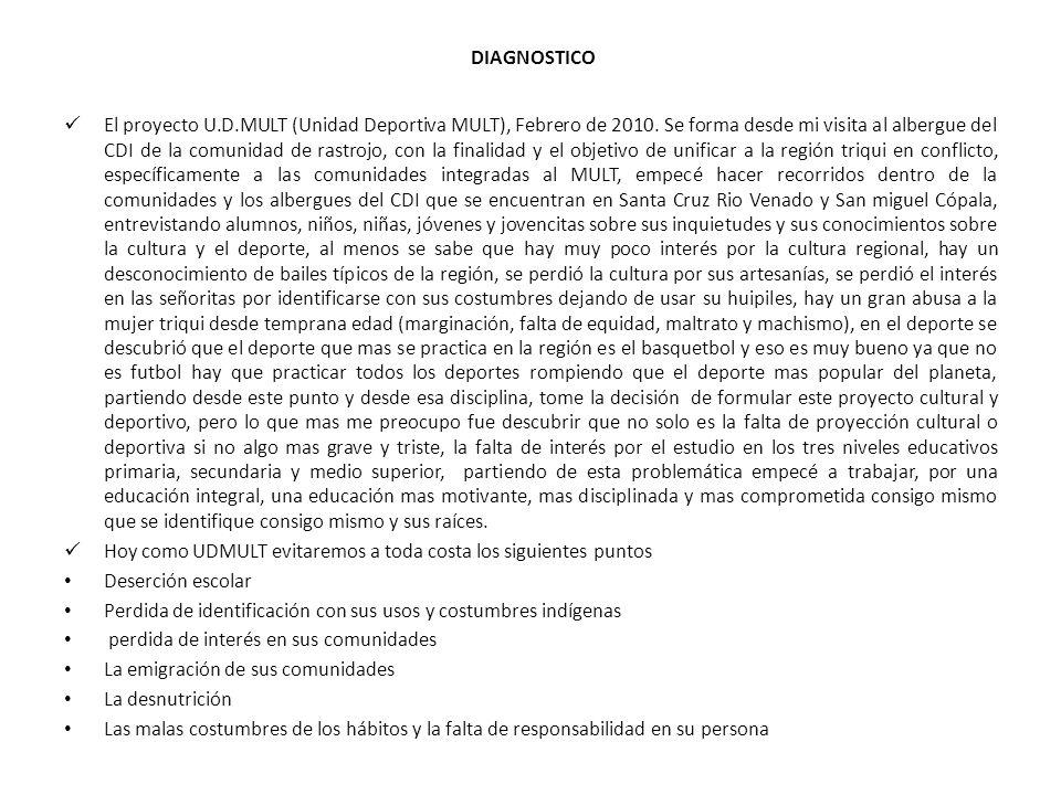 DIAGNOSTICO El proyecto U.D.MULT (Unidad Deportiva MULT), Febrero de 2010.