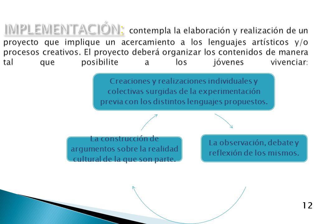 12 Creaciones y realizaciones individuales y colectivas surgidas de la experimentación previa con los distintos lenguajes propuestos. La observación,