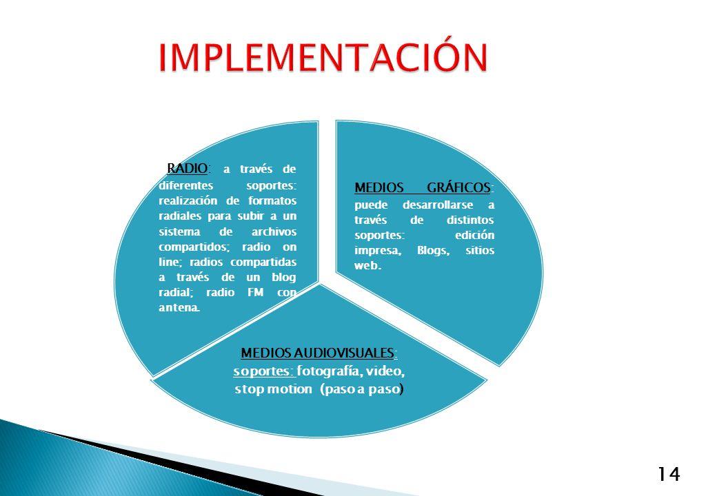 14 MEDIOS GRÁFICOS: puede desarrollarse a través de distintos soportes: edición impresa, Blogs, sitios web. MEDIOS AUDIOVISUALES: soportes: fotografía