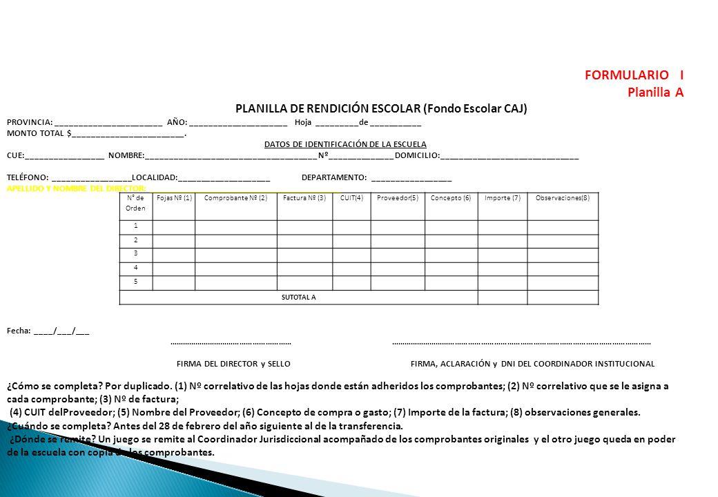 N° de Orden Fojas Nº (1)Comprobante Nº (2)Factura Nº (3)CUIT(4)Proveedor(5)Concepto (6)Importe (7)Observaciones(8) 1 2 3 4 5 SUTOTAL A FORMULARIO I Pl