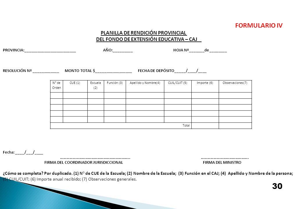 N° de Orden CUE (1) Escuela (2) Función (3)Apellido y Nombre(4)CUIL/CUIT (5)Importe (6)Observaciones(7) Total FORMULARIO IV PLANILLA DE RENDICIÓN PROV