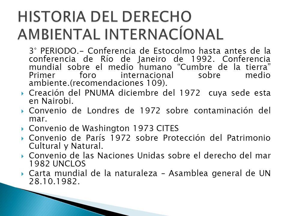 3° PERIODO.- Conferencia de Estocolmo hasta antes de la conferencia de Río de Janeiro de 1992. Conferencia mundial sobre el medio humano Cumbre de la