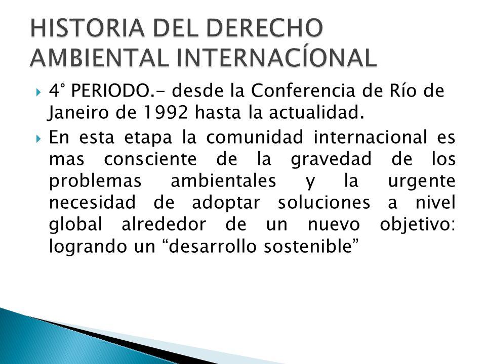 4° PERIODO.- desde la Conferencia de Río de Janeiro de 1992 hasta la actualidad. En esta etapa la comunidad internacional es mas consciente de la grav