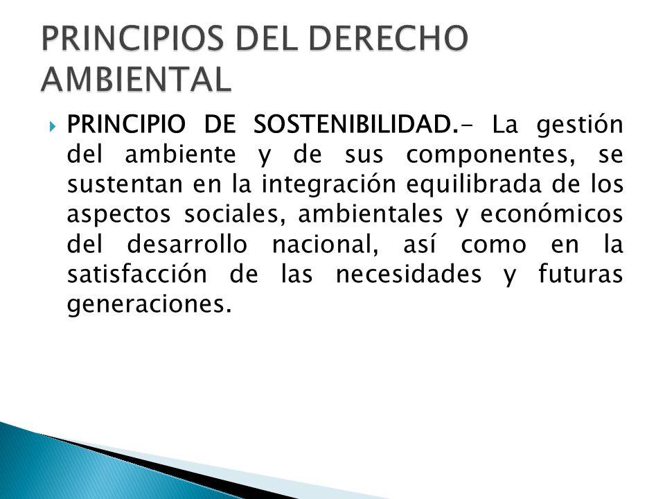 PRINCIPIO DE SOSTENIBILIDAD.- La gestión del ambiente y de sus componentes, se sustentan en la integración equilibrada de los aspectos sociales, ambie