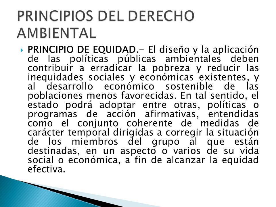 PRINCIPIO DE EQUIDAD.- El diseño y la aplicación de las políticas públicas ambientales deben contribuir a erradicar la pobreza y reducir las inequidad