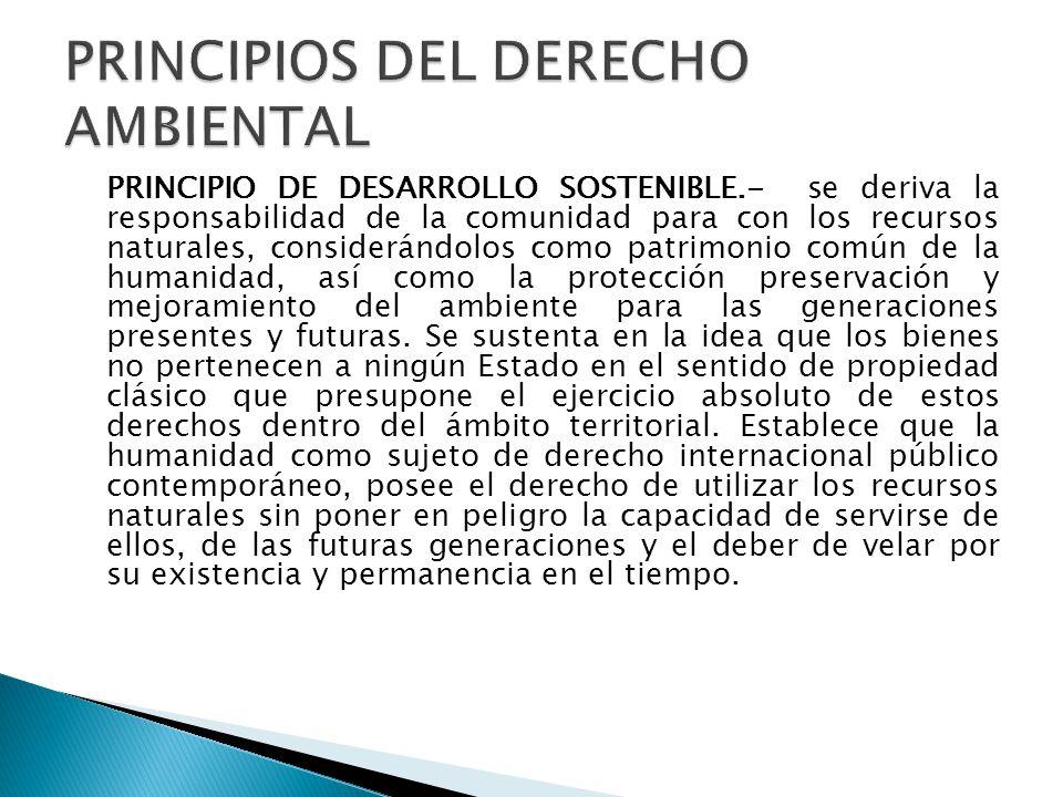 PRINCIPIO DE DESARROLLO SOSTENIBLE.- se deriva la responsabilidad de la comunidad para con los recursos naturales, considerándolos como patrimonio com