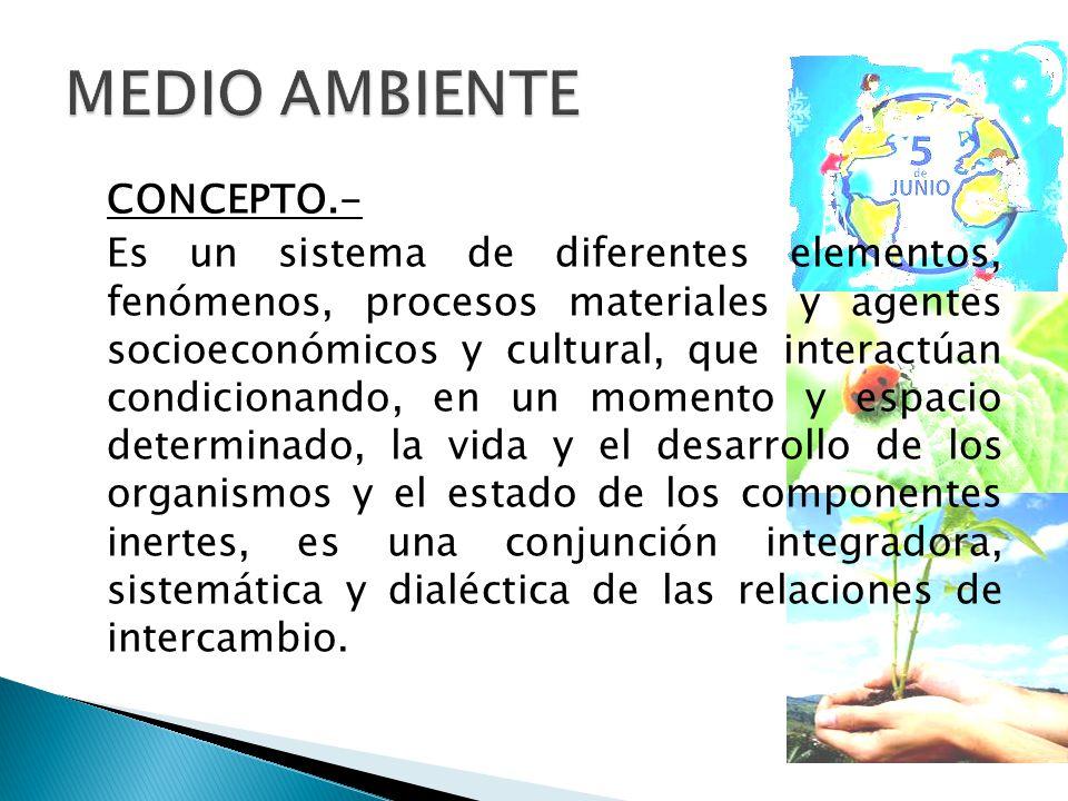 CONCEPTO.- Es un sistema de diferentes elementos, fenómenos, procesos materiales y agentes socioeconómicos y cultural, que interactúan condicionando, en un momento y espacio determinado, la vida y el desarrollo de los organismos y el estado de los componentes inertes, es una conjunción integradora, sistemática y dialéctica de las relaciones de intercambio.