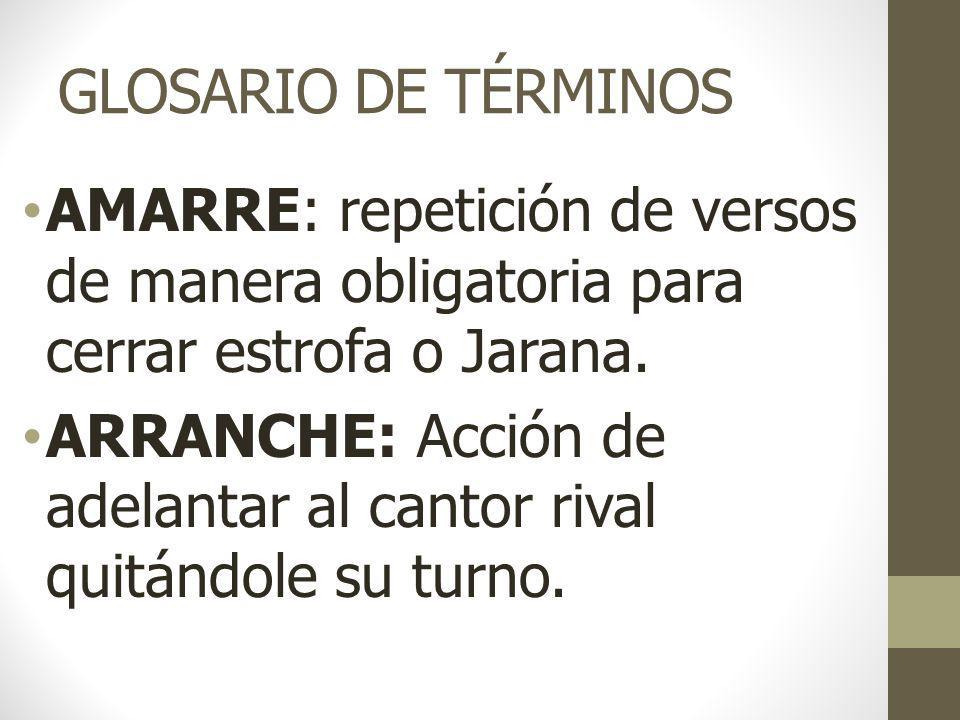 GLOSARIO DE TÉRMINOS AMARRE: repetición de versos de manera obligatoria para cerrar estrofa o Jarana.