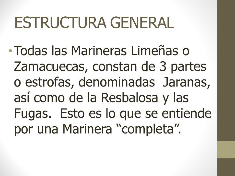 ESTRUCTURA GENERAL Todas las Marineras Limeñas o Zamacuecas, constan de 3 partes o estrofas, denominadas Jaranas, así como de la Resbalosa y las Fugas.