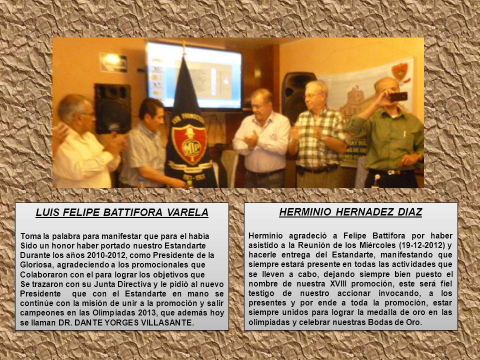 LUIS FELIPE BATTIFORA VARELA Toma la palabra para manifestar que para el había Sido un honor haber portado nuestro Estandarte Durante los años 2010-20