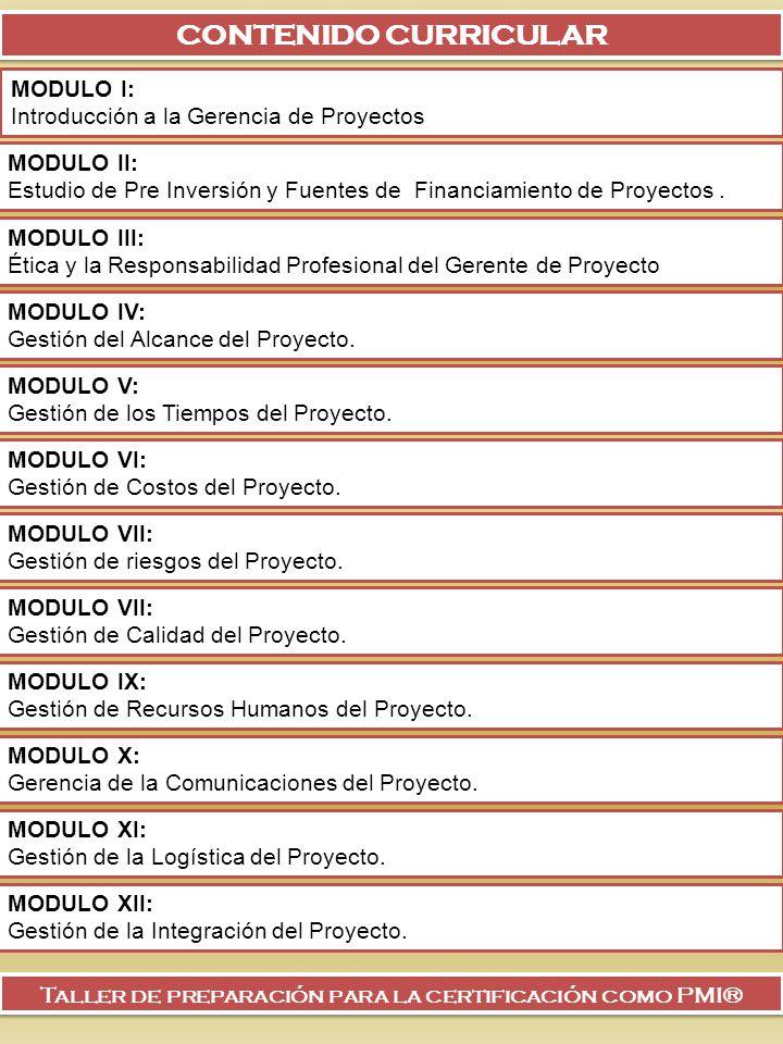 CONTENIDO CURRICULAR MODULO I: Introducción a la Gerencia de Proyectos MODULO II: Estudio de Pre Inversión y Fuentes de Financiamiento de Proyectos. M