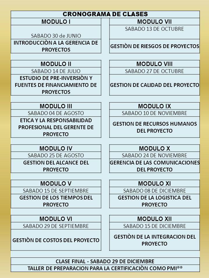 CRONOGRAMA DE CLASES MODULO IMODULO VII SABADO 30 de JUNIO SABADO 13 DE OCTUBRE INTRODUCCIÒN A LA GERENCIA DE PROYECTOS GESTIÒN DE RIESGOS DE PROYECTO