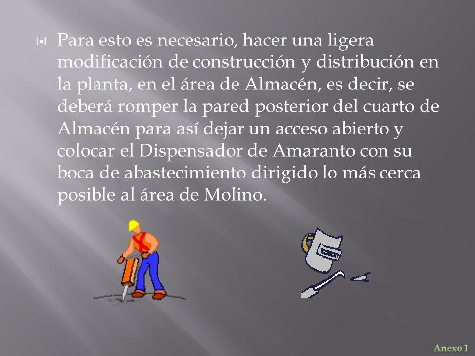 Para esto es necesario, hacer una ligera modificación de construcción y distribución en la planta, en el área de Almacén, es decir, se deberá romper l