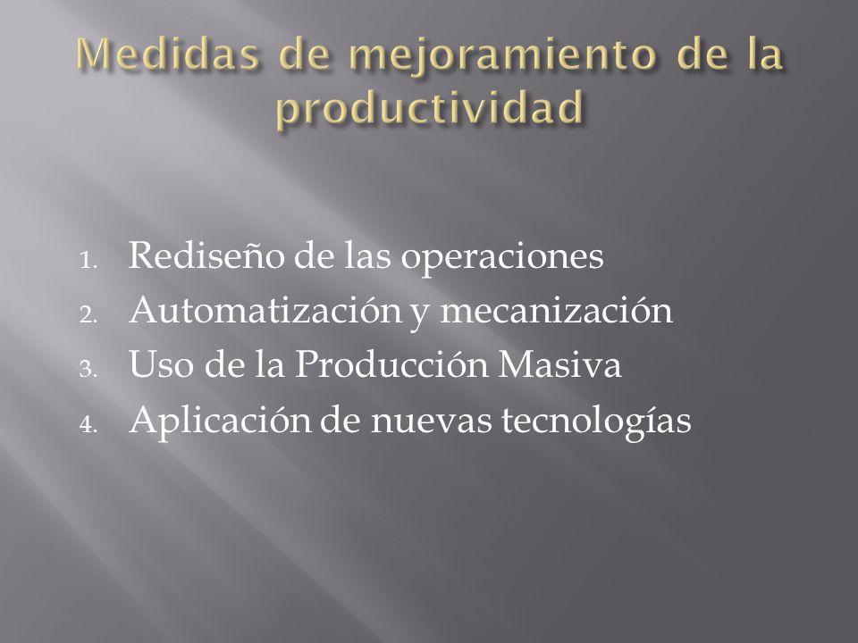 1. Rediseño de las operaciones 2. Automatización y mecanización 3. Uso de la Producción Masiva 4. Aplicación de nuevas tecnologías
