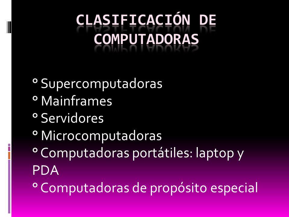 ° Supercomputadoras ° Mainframes ° Servidores ° Microcomputadoras ° Computadoras portátiles: laptop y PDA ° Computadoras de propósito especial