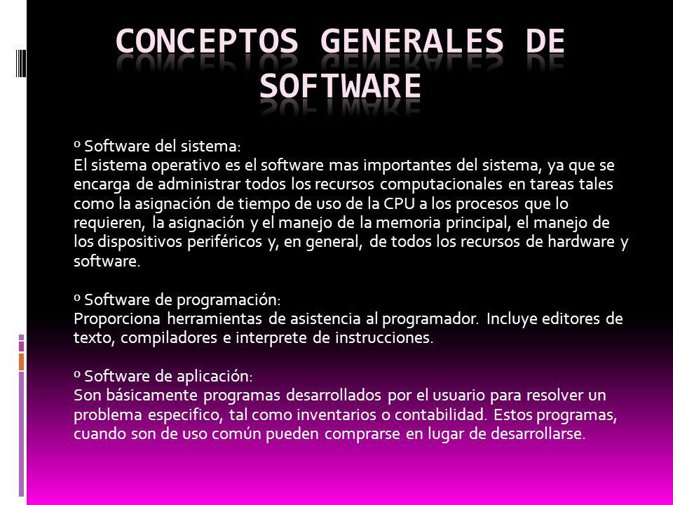 º Software del sistema: El sistema operativo es el software mas importantes del sistema, ya que se encarga de administrar todos los recursos computaci