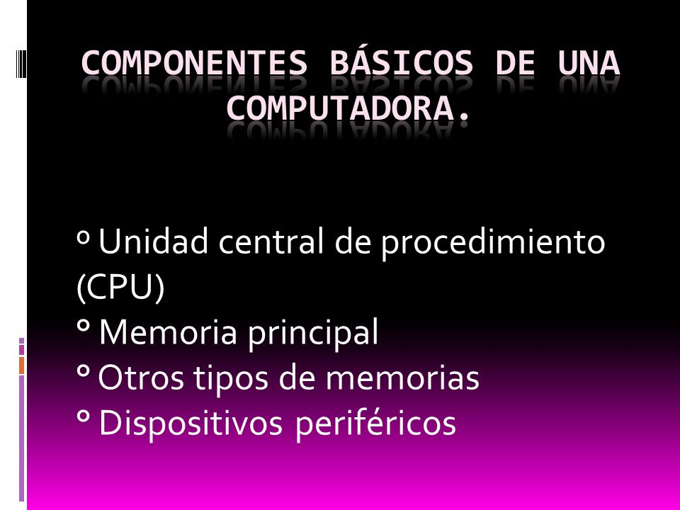 º Unidad central de procedimiento (CPU) ° Memoria principal ° Otros tipos de memorias ° Dispositivos periféricos