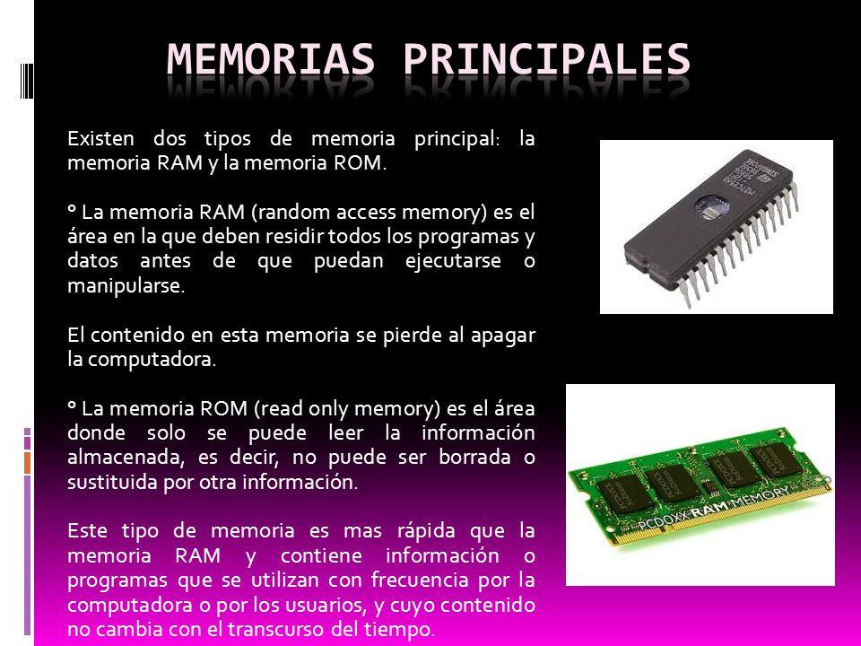 Existen dos tipos de memoria principal: la memoria RAM y la memoria ROM. ° La memoria RAM (random access memory) es el área en la que deben residir to