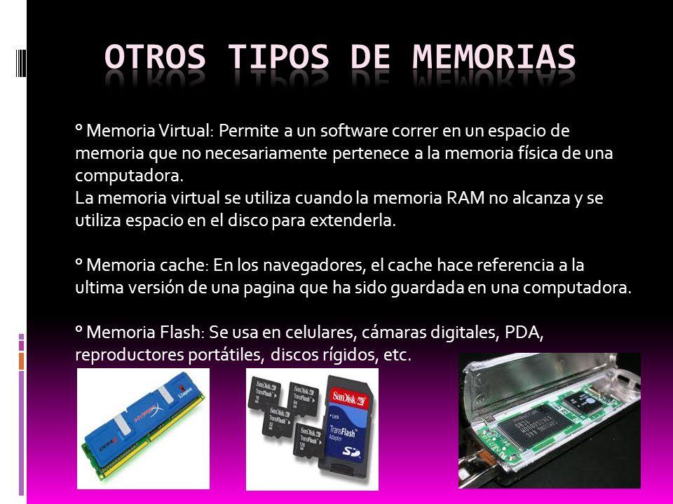 ° Memoria Virtual: Permite a un software correr en un espacio de memoria que no necesariamente pertenece a la memoria física de una computadora. La me
