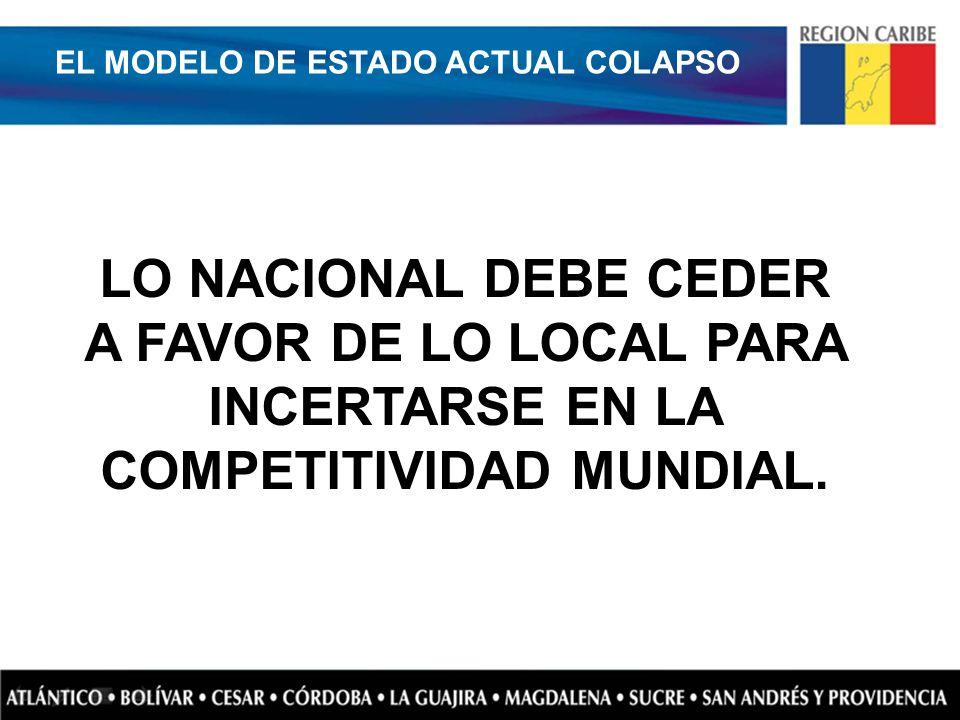 LO NACIONAL DEBE CEDER A FAVOR DE LO LOCAL PARA INCERTARSE EN LA COMPETITIVIDAD MUNDIAL. EL MODELO DE ESTADO ACTUAL COLAPSO