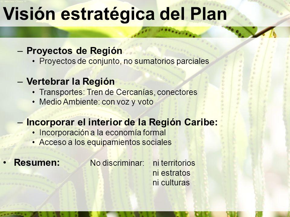 Visión estratégica del Plan –Proyectos de Región Proyectos de conjunto, no sumatorios parciales –Vertebrar la Región Transportes: Tren de Cercanías, c