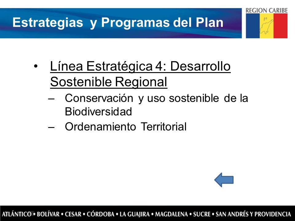 Línea Estratégica 4: Desarrollo Sostenible Regional –Conservación y uso sostenible de la Biodiversidad –Ordenamiento Territorial Estrategias y Program