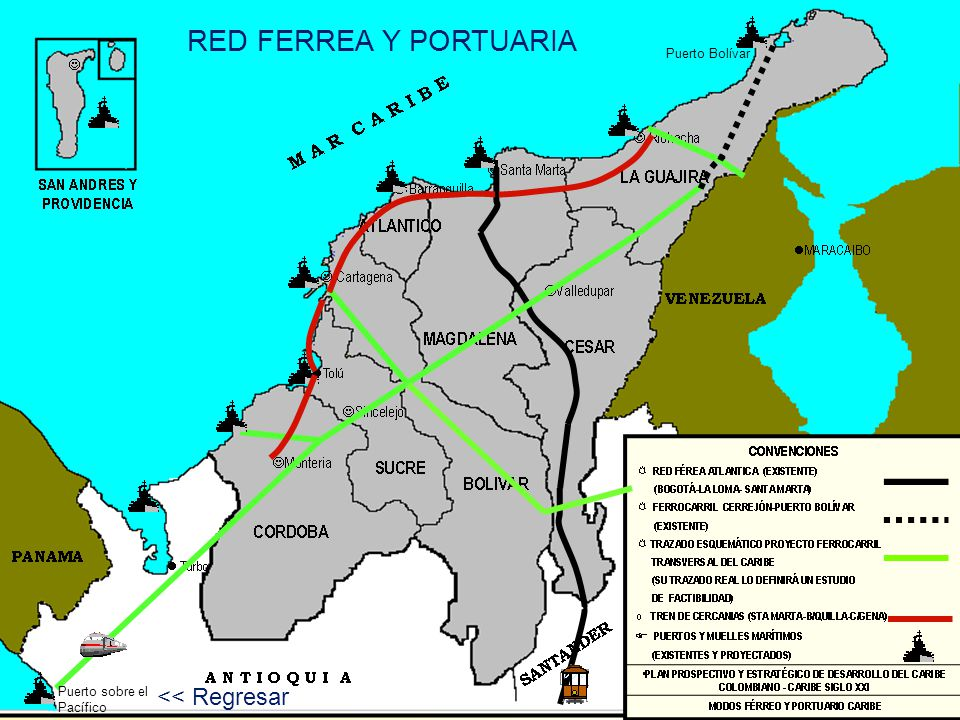 Puerto sobre el Pacífico Puerto Bolívar RED FERREA Y PORTUARIA << Regresar