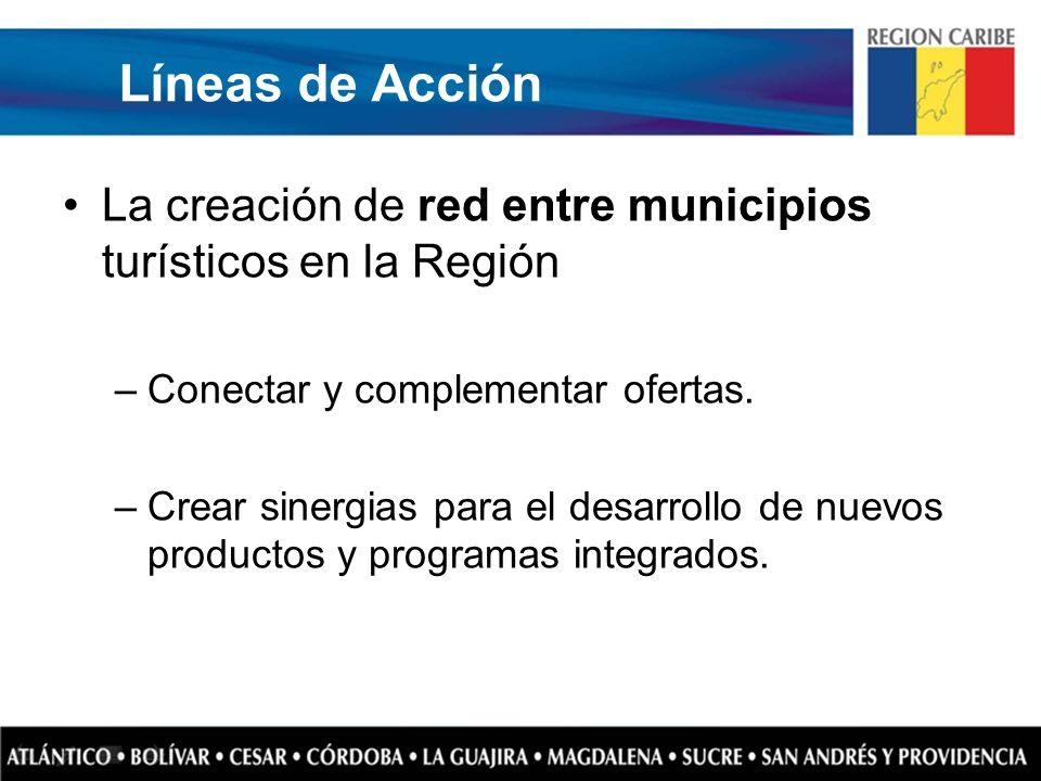 Líneas de Acción La creación de red entre municipios turísticos en la Región –Conectar y complementar ofertas. –Crear sinergias para el desarrollo de