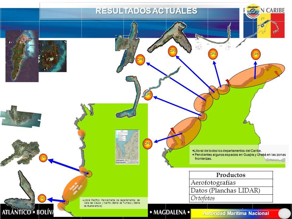 Autoridad Marítima Nacional RESULTADOS ACTUALES CP2 CP1 Litoral Pacífico: Parcialmente los departamentos del Valle del Cauca y Nariño (Bahía de Tumaco