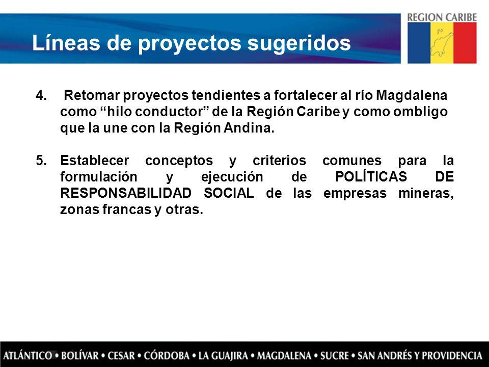 Líneas de proyectos sugeridos 4. Retomar proyectos tendientes a fortalecer al río Magdalena como hilo conductor de la Región Caribe y como ombligo que