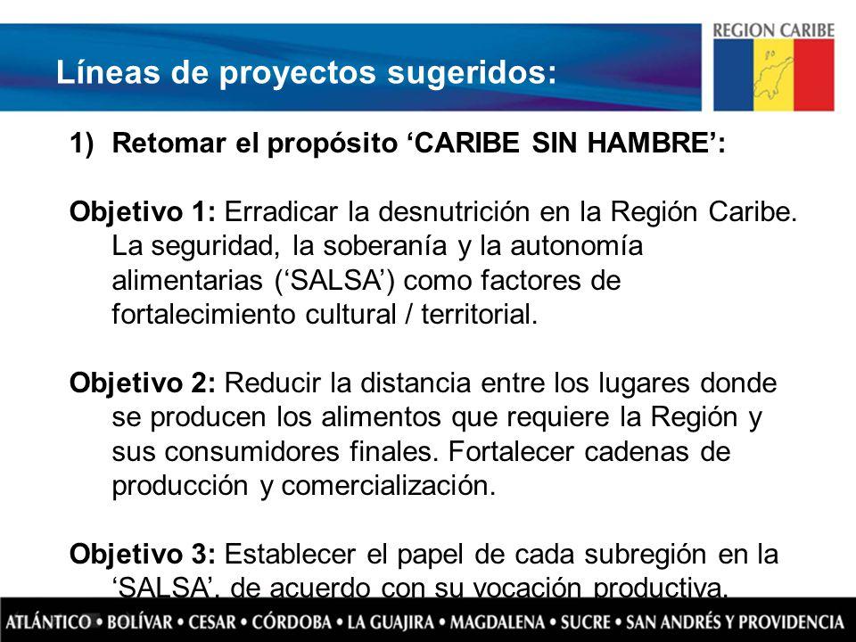 Líneas de proyectos sugeridos: 1)Retomar el propósito CARIBE SIN HAMBRE: Objetivo 1: Erradicar la desnutrición en la Región Caribe. La seguridad, la s