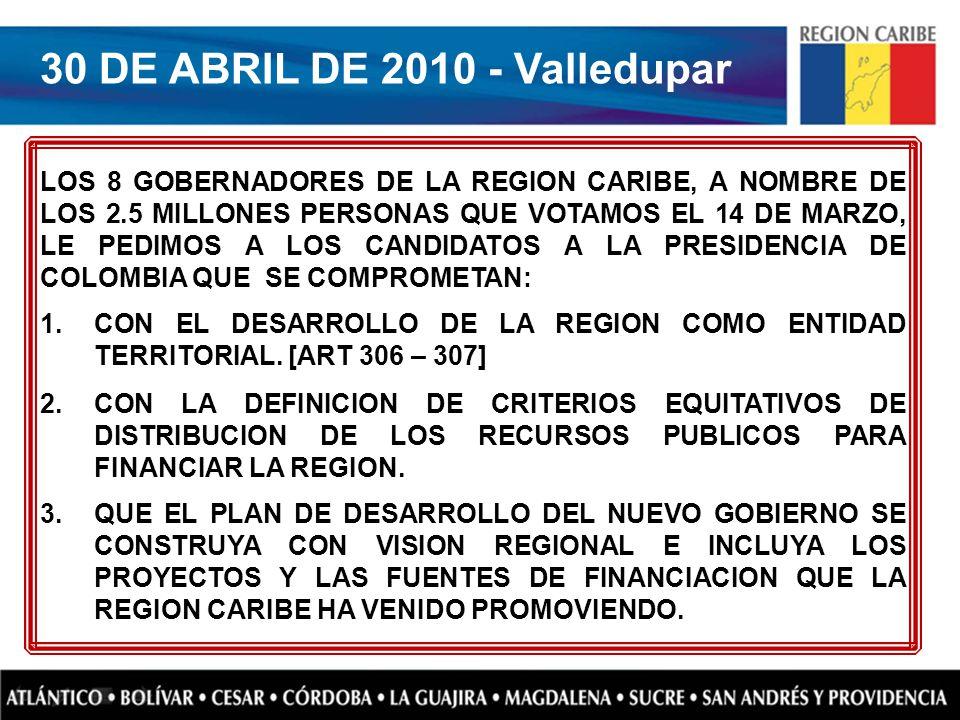 LOS 8 GOBERNADORES DE LA REGION CARIBE, A NOMBRE DE LOS 2.5 MILLONES PERSONAS QUE VOTAMOS EL 14 DE MARZO, LE PEDIMOS A LOS CANDIDATOS A LA PRESIDENCIA