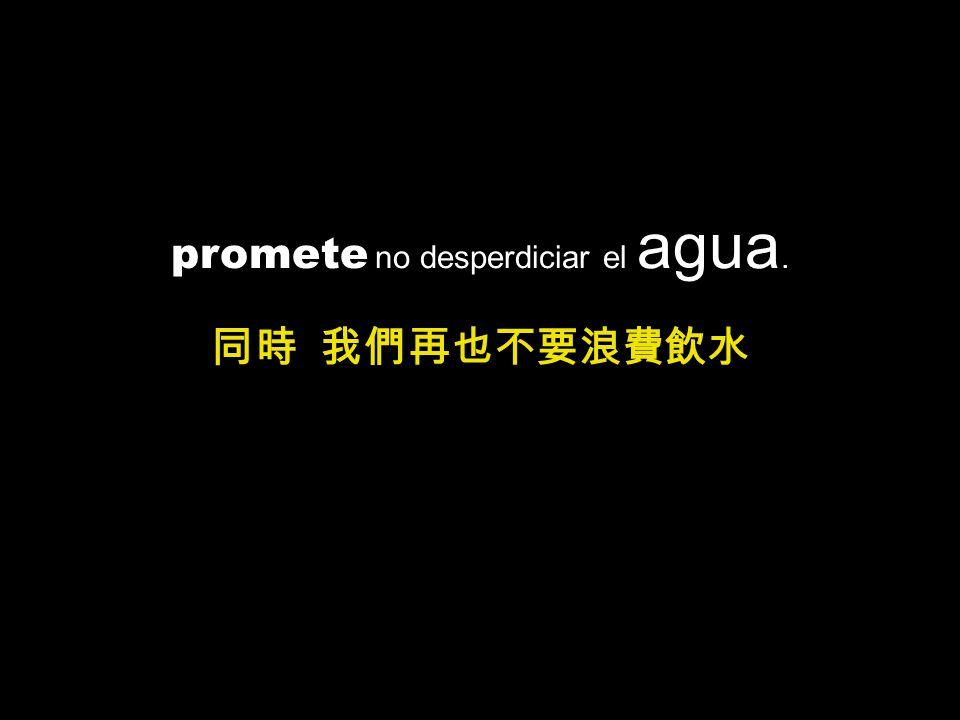 promete no desperdiciar el agua.