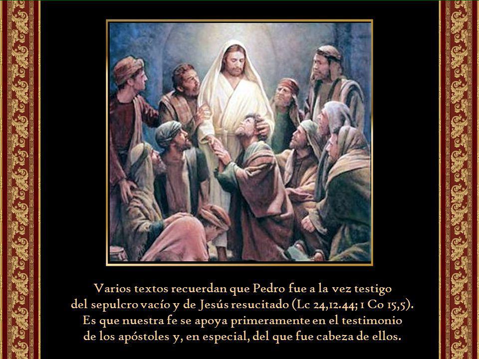 Varios textos recuerdan que Pedro fue a la vez testigo del sepulcro vacío y de Jesús resucitado (Lc 24,12.44; 1 Co 15,5).