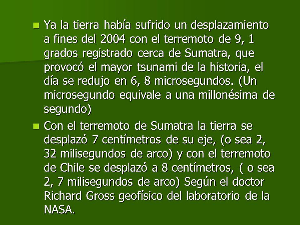 La Nasa marzo de 2010 Informe de un enviado del diario Clarín. El terremoto de 8, 8 grados en la escala de Richter, que azotó el sábado pasado el cent